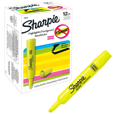 Sharpie Accent Tank Style Highlighter, Chisel Tip, Fluorescent Yellow, 12-count