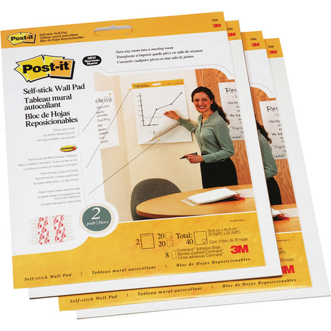 Post-it Wall Easel Pads 20 Sheets, White, 4-count