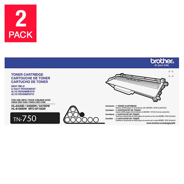 Brother TN750 High-Yield Toner Cartridge, Black, 2-pack