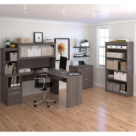 Sutton L-Shape Desk with Hutch, Lateral File and 36  Commercial Bookcase in Bark Grey Finish