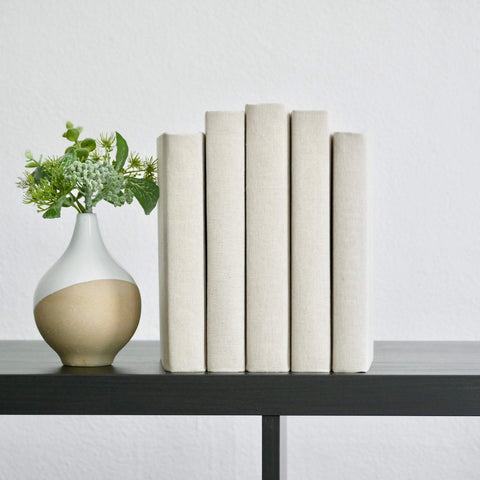 Beige Linen Fabric Covered Book Set