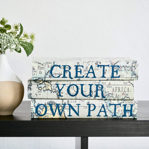 Create Your Own Path Decorative Quote Book Set with Vintage Map Design Covers