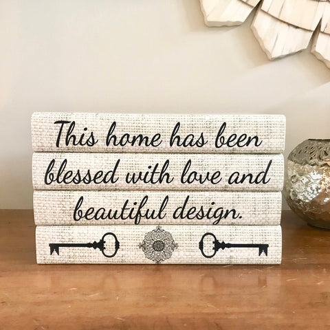 Blessed Home Neutral Decorative Books