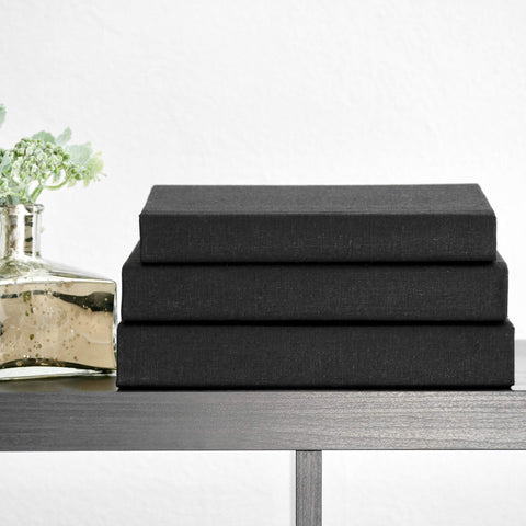 Black Linen Fabric Covered Books for Decoration