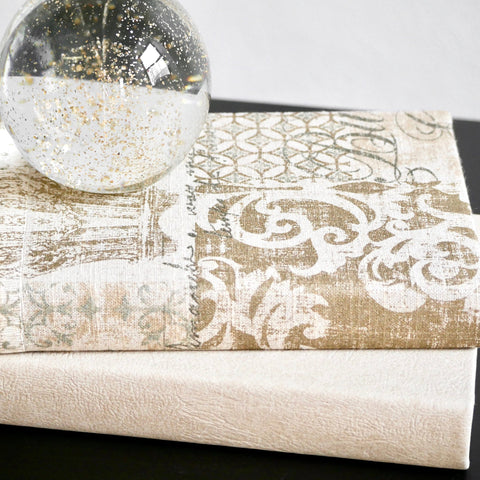 Beige and Gold Fabric Covered Decorative Books