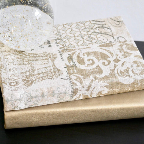 Beige and Gold Fabric Covered Book Decor