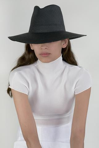 Wide Brim Pinch Panama Hat in Black Straw