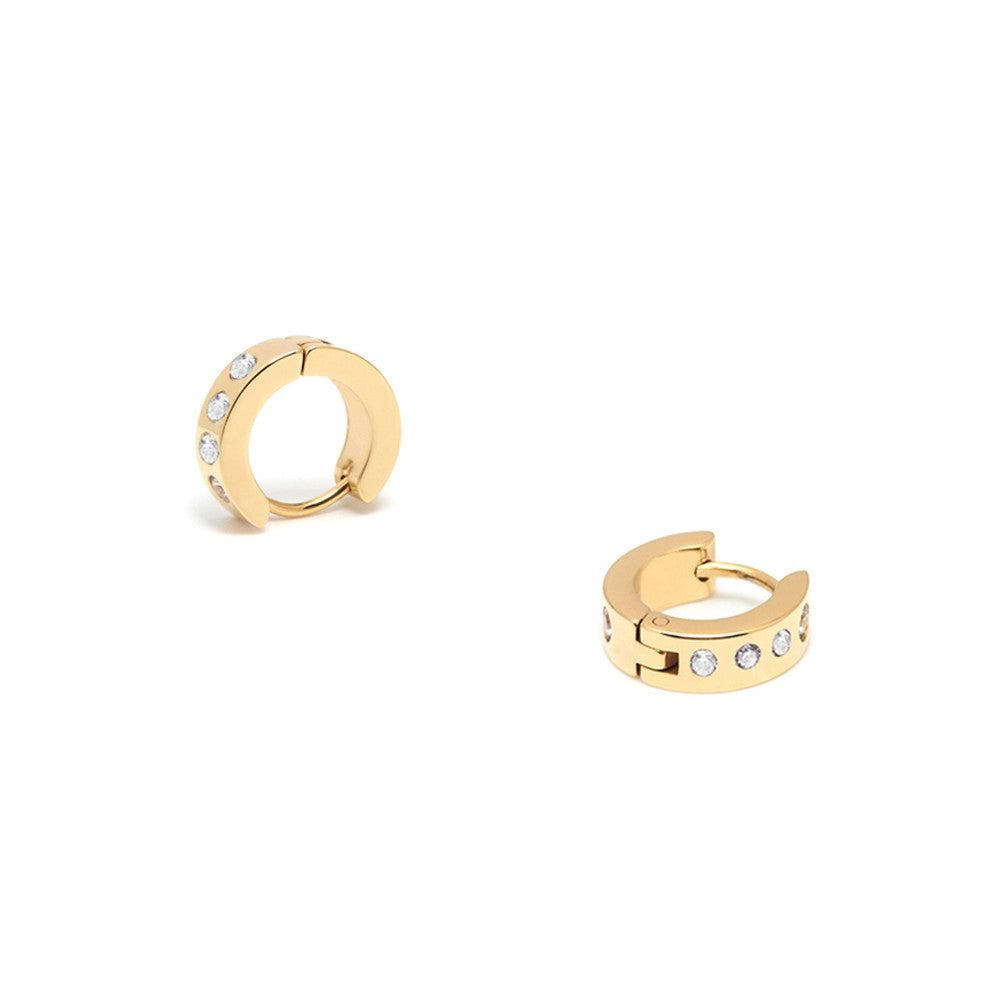 Gold Hoops with Encrusted Zircons