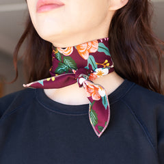 The Neckerchief in Rifle Print Wine Floral