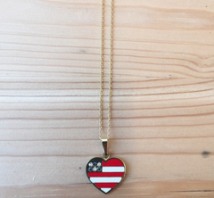 Heart Shaped American Flag Charm Necklace