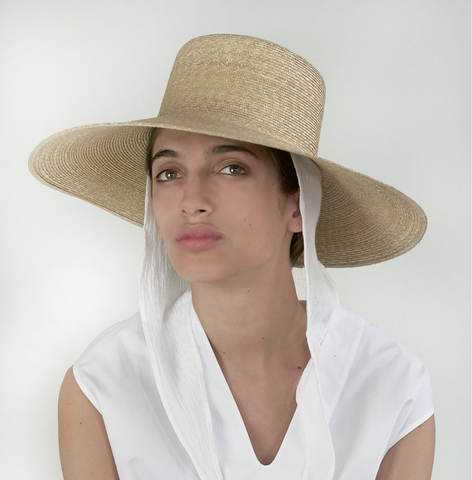 Wide Brim Flat Top Hat in Natural Straw with Neck Shade