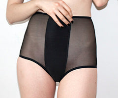 Black Sheer Mesh Striped High Waist Panties