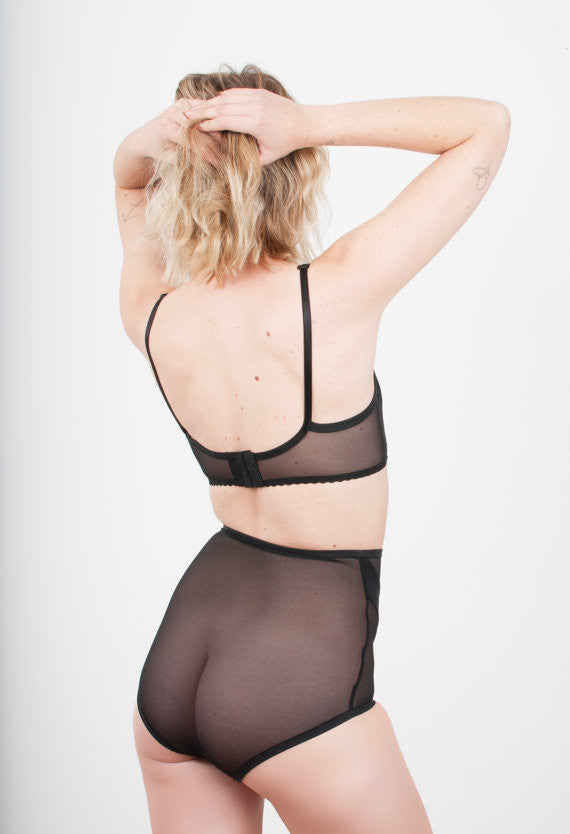 Sheer Black Mesh Structure Bra