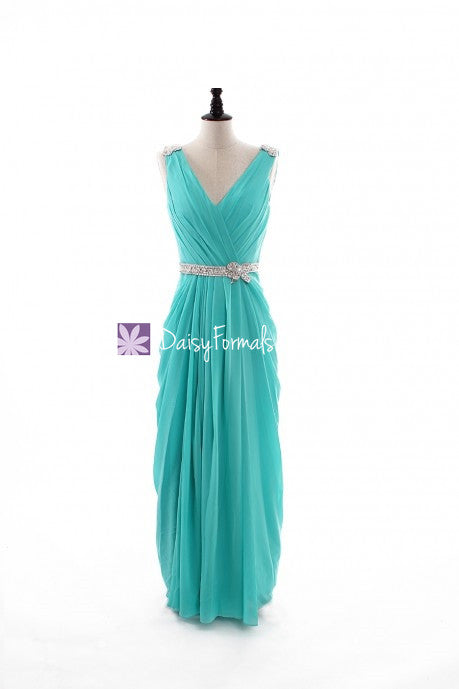 Aqua chiffon dress tiffany blue long porm dress long tiffany bridal party dress (bm876l)