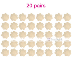 20 Pairs Pasties Satin Nipple Cover Stickers Disposable Breast Pasties Flower Shape