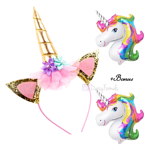 DaisyFormals Unicorn Headband Gold Shiny Unicorn Birthday Rose Flower Headband for Girls Adults Cosplay Costume, Christmas Party, 1 PC Bonus 2 Free Unicorn Ballons