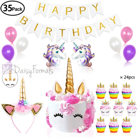 Unicorn Party Supplies & Decorations with Unicorn Cake Topper,Unicorn Headband,24 Pcs Unicorn Cupcake Toppers Wrappers and Happy Birthday Banner plus Unicorn Balloons Latex Party Ballons,Great for Birthday Party, Baby Shower and Unicorn Party(35 Packs)