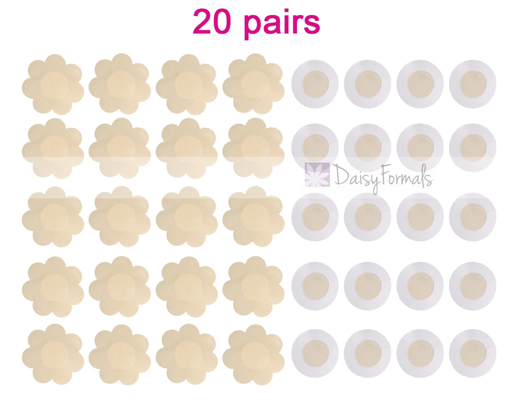 20 Pairs Sexy Pasties Satin Nipple Cover Breast Petal pasties Disposable (Flower & Round)