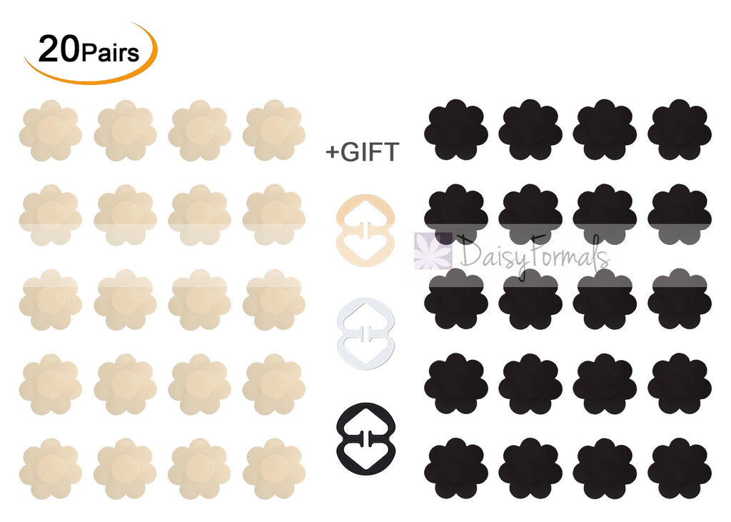 20 Pairs Pasties Satin Nipple Cover Stickers Disposable Breast Pasties Flower Shape(Nude & Black)