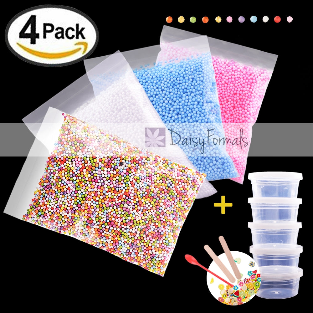 50000pcs Foam Beads for Slime 0.08-0.18 Inch Craft Foam Balls(4Pack) Ideal For Homemade Slime, Kid's Craft, Wedding and Party Decoration, Bonus Fruit Slice + Spoon + Stir Sticks + Slime Containers