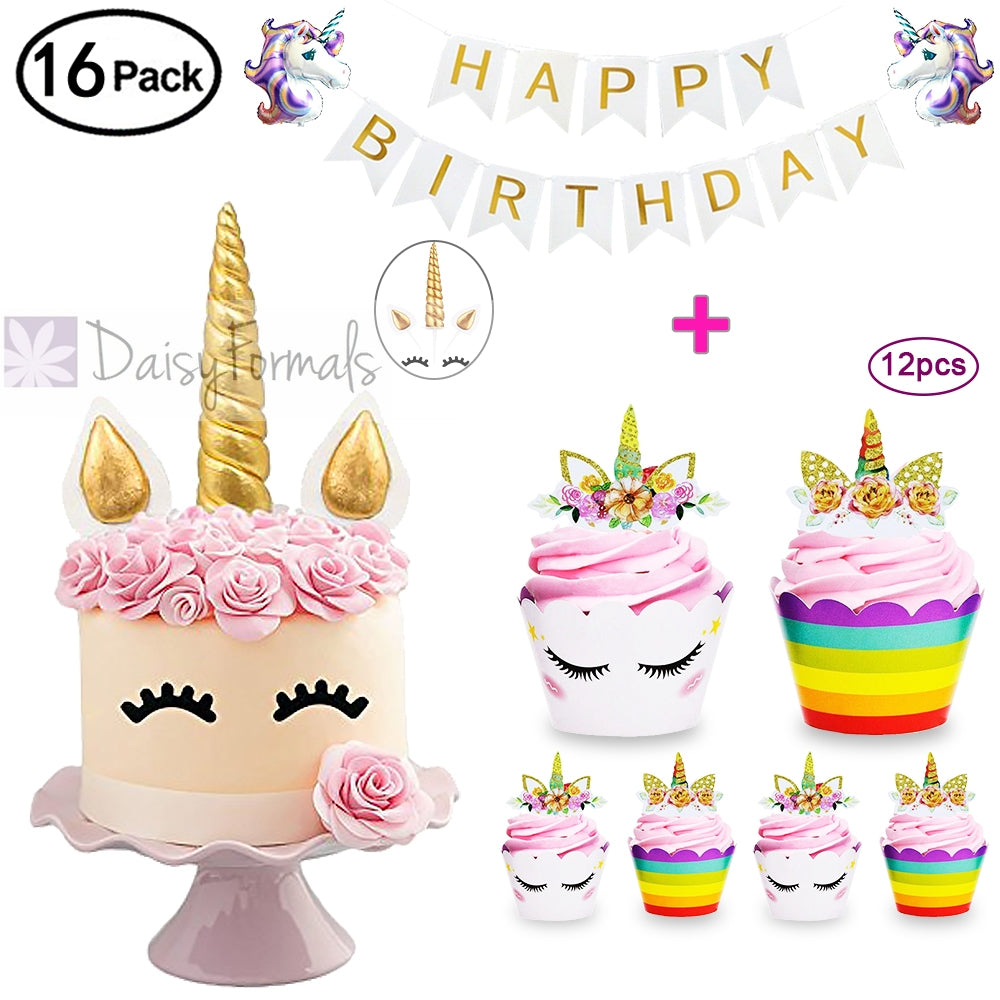 Daisyformals Unicorn Cake Topper With 12 Pcs Cupcake Toppers Wrappers And Happy Birthday Banner Plus 2