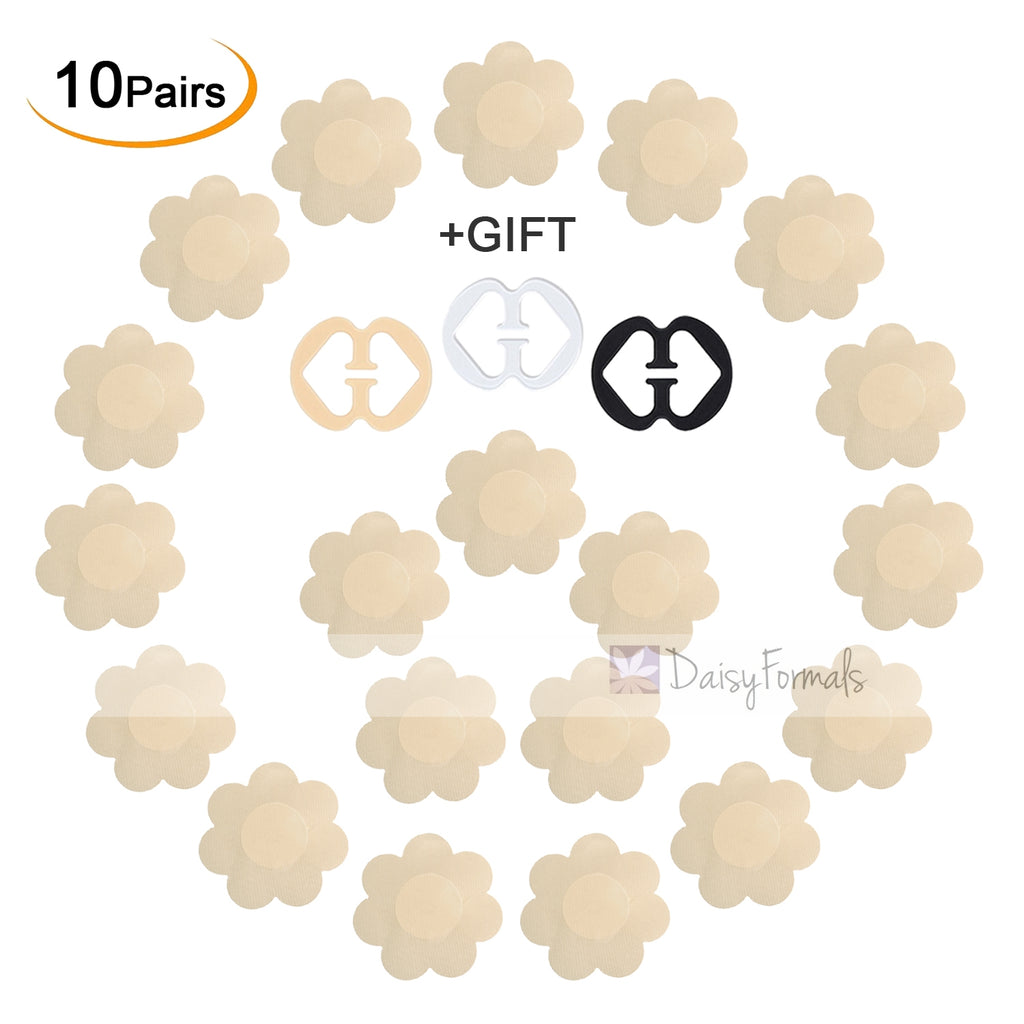 10 Pairs Pasties Satin Nipple Cover Stickers Disposable Breast Pasties Flower Shape