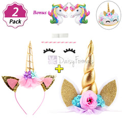 DaisyFormals Shiny Gold Unicorn Headband with Unicorn Cake Topper, Unicorn Party Supplies for Birthday Party, Baby Shower, Kids Party Decoration with 2 Free Unicorn Balloons