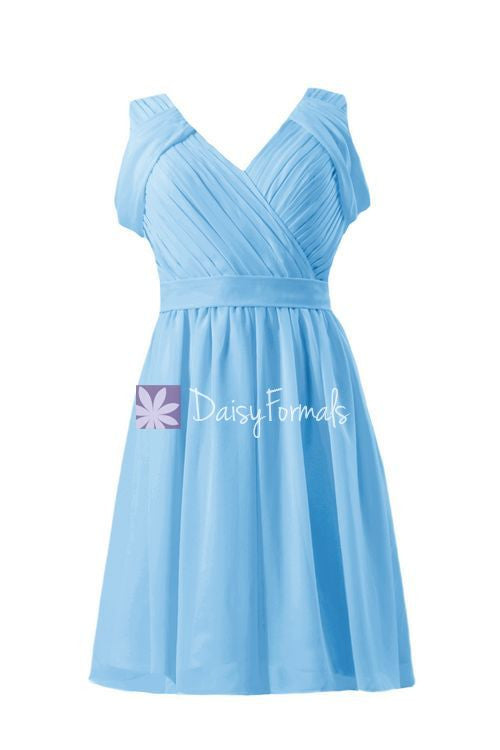 Gracious sea blue elegant chiffon party dress v neckline affordable bridesmaids dress (bm283s)