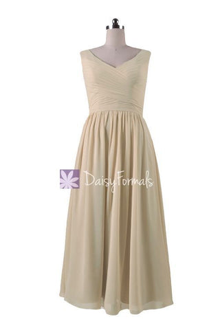 In stock,Ready to Ship - V-Neck Chiffon Bridesmaid Dress Long Bridal Pary Dress(BM5196L)- (#50 Champagne)