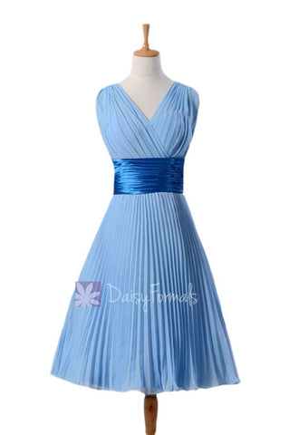 In stock,Ready to Ship - Vintage Short Chiffon Dress V-Neck Blue Formal Dress(BM3171) - (#38 Cornflower)