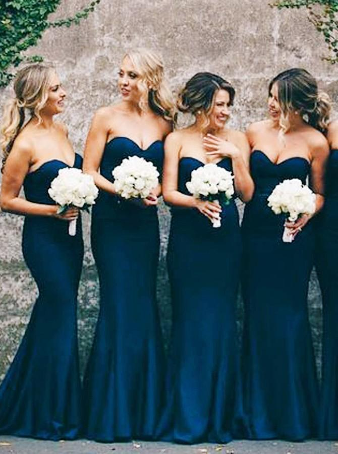 Mermaid Sweetheart Navy Blue Stretch Satin Sweep Train Bridesmaid Dress (BMA2025)