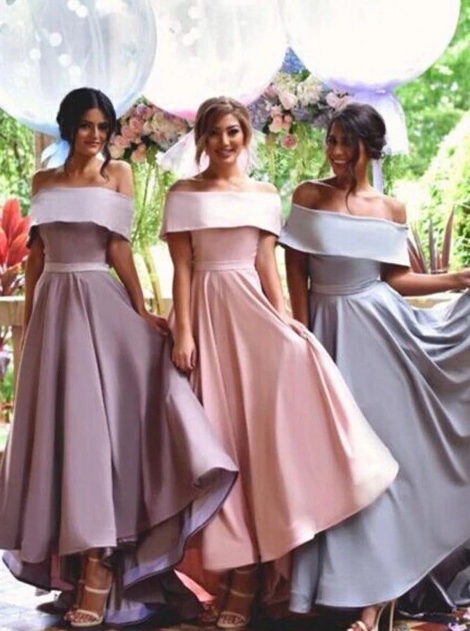 Off Shoulder Lapel Hi-Low Bridesmaid Dress (BMA20125)