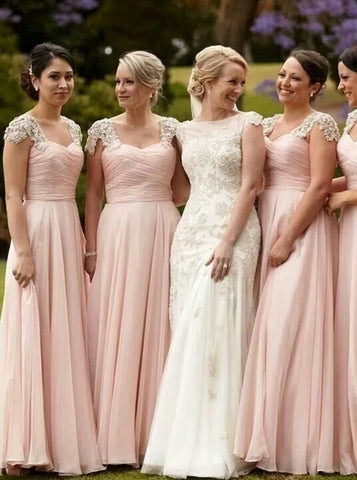Stunning Scoop Cap Sleeves Floor Length Pink Chiffon Bridesmaid Dress with Beading (BMA2031)