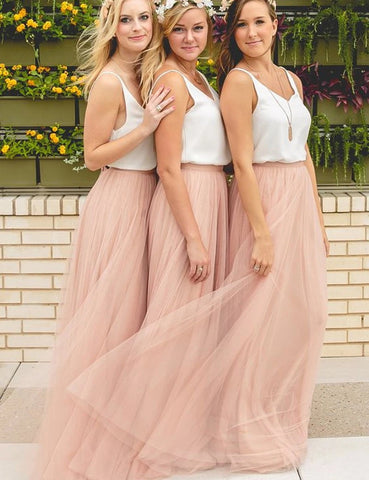 V-Neck Sleeveless Tulle Blush A-Line Long Bridesmaid Dress (BMA20127)