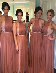 Crew Neck Sleeveless Floor Length Ruched Blush Bridesmaid Dress with Sash (BMA2035)