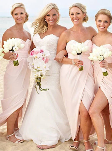Sweetheart Floor Length Pearl Pink Chiffon Bridesmaid Dress with Split (BMA2037)