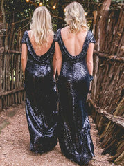 Cap Sleeves Backless Navy Blue Sequined Bridesmaid Dress (BMA20102)