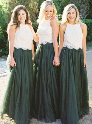 Round Neck Dark Green Tulle Bridesmaid Dress with Lace (BMA20105)