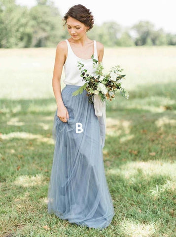 Two Piece Scoop Sweep Train white Tulle Bridesmaid Dress (BMA20106)