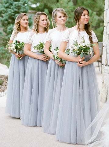 Round Neck Grey Tulle Bridesmaid Dress (BMA20109)