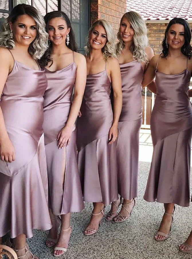 Spaghetti Straps Sleeveless Lilac Satin Bridesmaid Dress  (BMA20137)