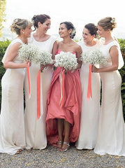 Round Neck Sleeveless Sweep Train White Chiffon Bridesmaid Dress (BMA20138)