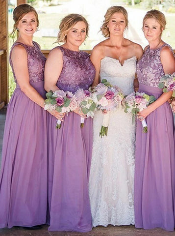 Round Neck Floor Length Purple Chiffon Bridesmaid Dress with Lace (BMA2019)