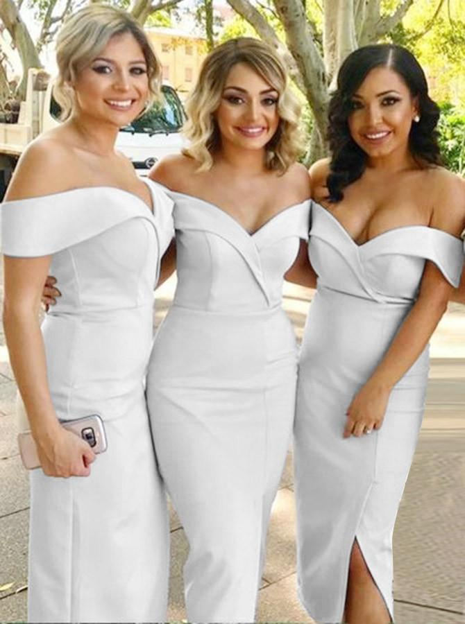 Mermaid Off-the-Shoulder White Satin Bridesmaid Dress with Split (BMA20156)