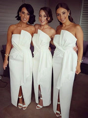 White Satin Bridesmaid Dress with Ruffles Split (BMA2040)