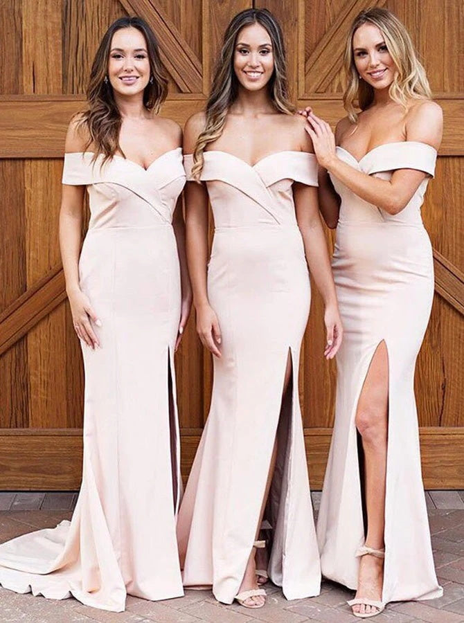 Off-the-Shoulder Pearl Pink Satin Bridesmaid Dress (BMA2017)