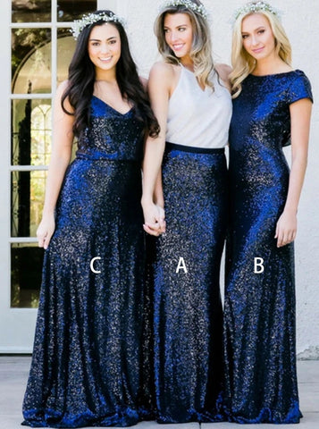 Round Neck Navy Blue Sequined Long Bridesmaid Dress (BMA20108)