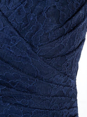 Sheath Spaghetti Straps Floor Length Ruched Navy Lace Bridesmaid Dress (BMA2011L)