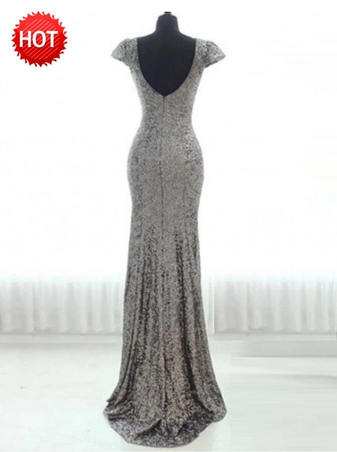 Sheath Scoop Cap Sleeves Silver Sequined Bridesmaid Dress (BMA20104)
