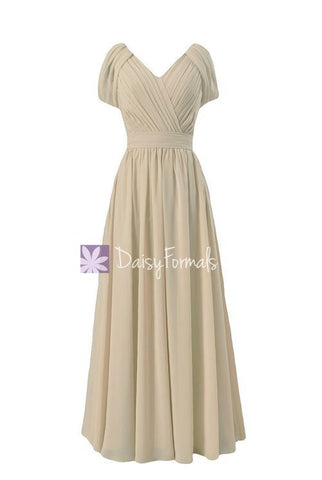 Champagne V-Neck Chiffon Bridesmaid Dress Long Formal Party Dress(BM283)